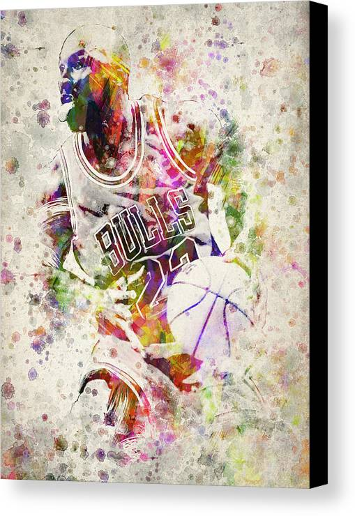 Michael Jordan Canvas Print featuring the drawing Michael Jordan by Aged Pixel