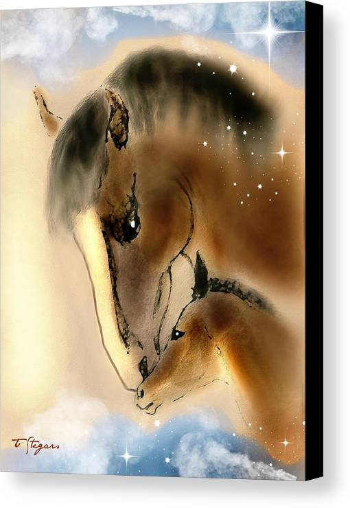 Horse Canvas Print featuring the painting Mommy by Tarja Stegars