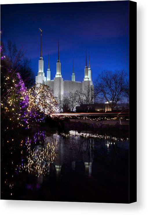 Mormon Canvas Print featuring the photograph Mormon Church At Christmas by Sydney Tran