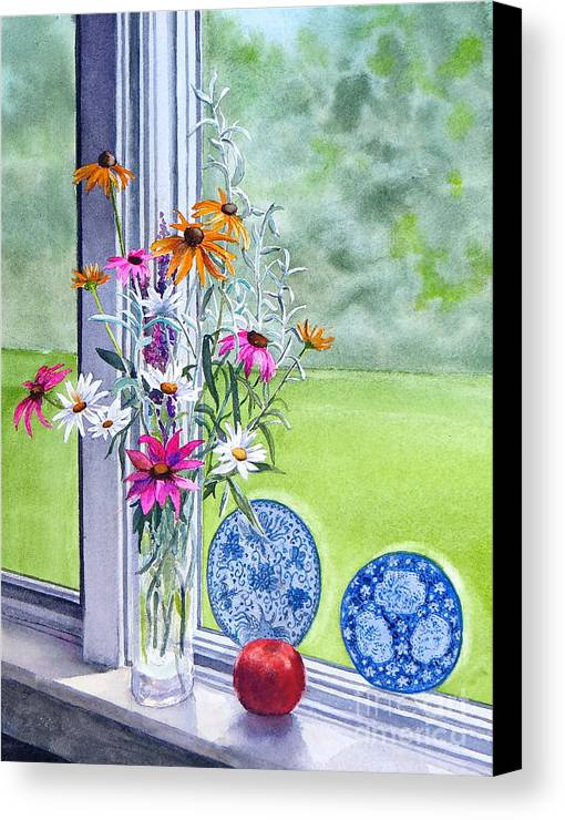 Flowers Canvas Print featuring the painting My Kitchen Window by Karol Wyckoff