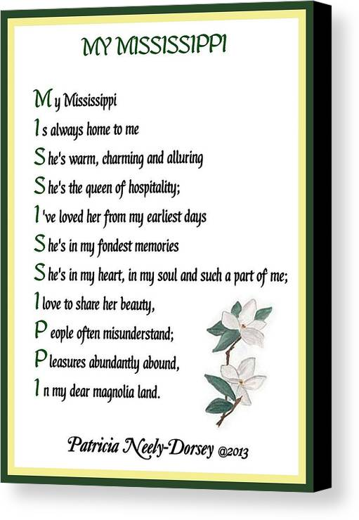 Mississippi Magnolia - Poetry Framed Prints Canvas Print featuring the digital art My Mississippi - Poetry by Patricia Neely-Dorsey