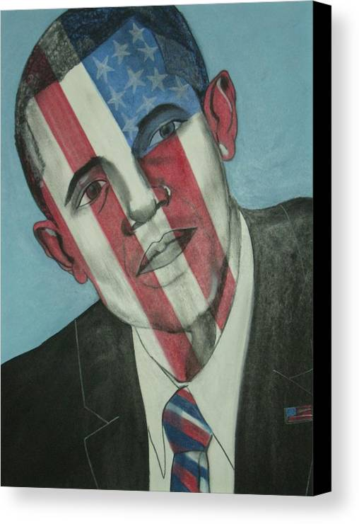 Obama Canvas Print featuring the mixed media Obama by Stanley Clark