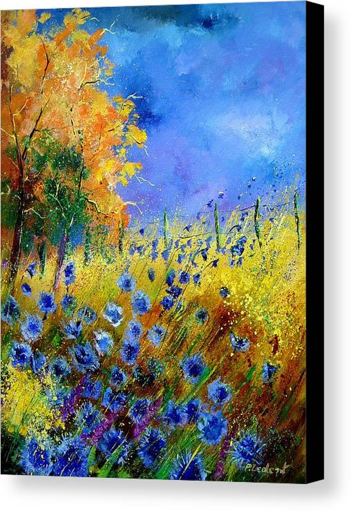 Poppies Canvas Print featuring the painting Orange Tree And Blue Cornflowers by Pol Ledent