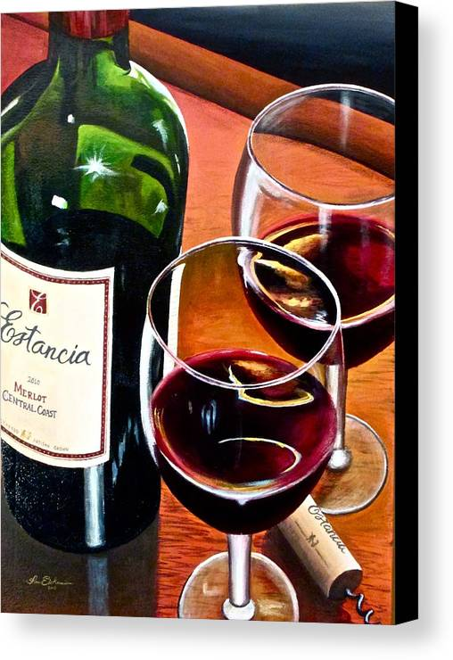 Wine Paintings Canvas Print featuring the painting Party Of Two by Tim Eickmeier