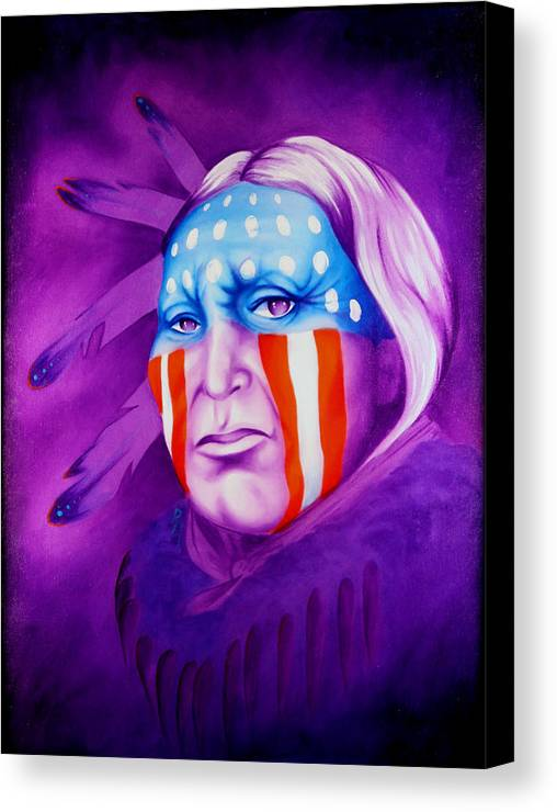 Native American Art Canvas Print featuring the painting Patriot by Robert Martinez