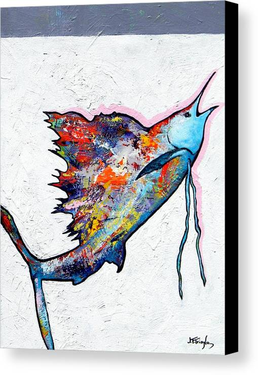 Wildlife Canvas Print featuring the painting Rainbow Warrior - Sailfish by Joe Triano