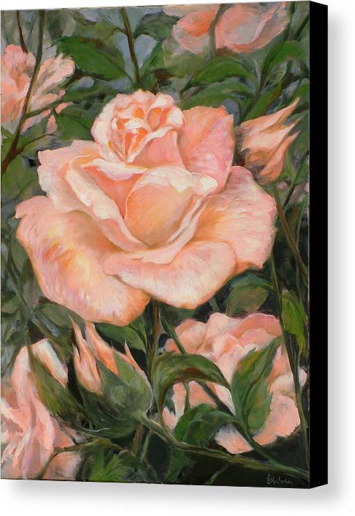 Rose Canvas Print featuring the painting Rose Garden by Ekaterina Mortensen