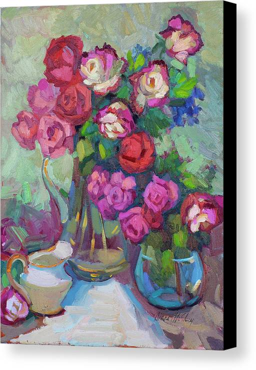 Roses Canvas Print featuring the painting Roses In Two Vases by Diane McClary