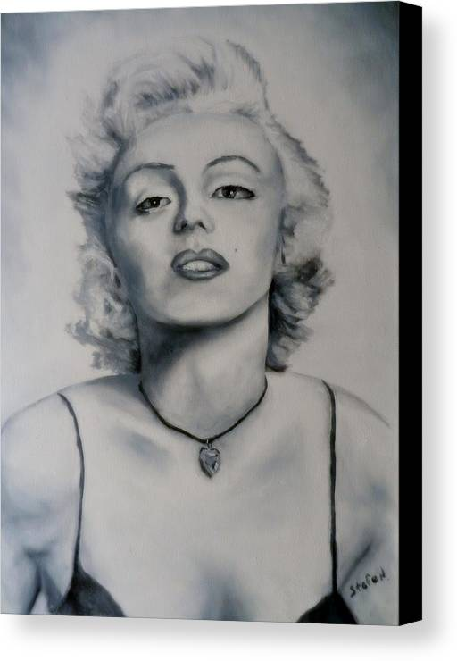 Marilyn Monroe Canvas Print featuring the painting Shades Of Gray Marilyn Monroe by Stefon Marc Brown