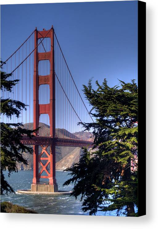 Golden Gate Bridge Canvas Print featuring the photograph South Tower by Bill Gallagher