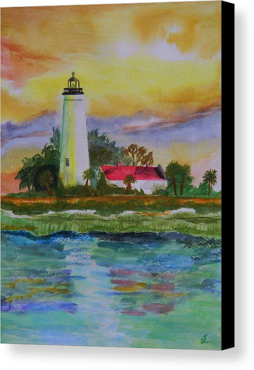 Landscape Canvas Print featuring the painting St. Marks Lighthouse-2 by Warren Thompson