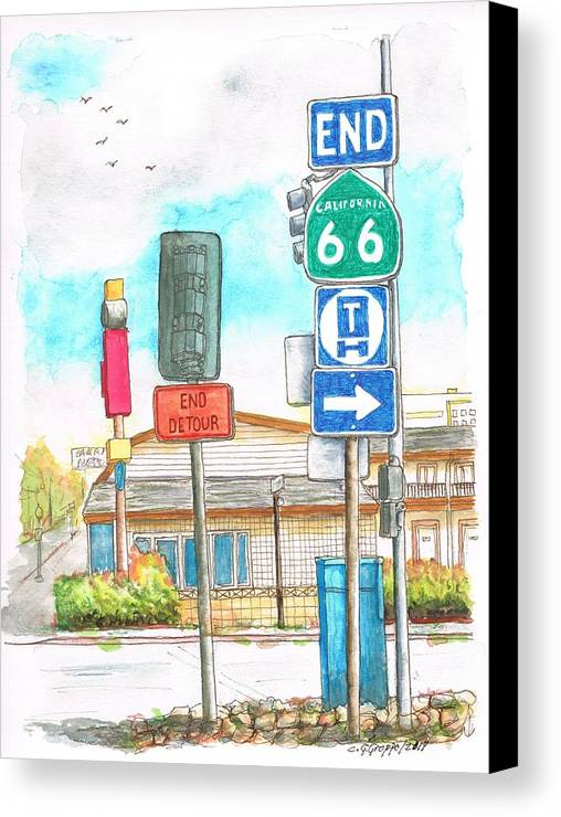 Route 66 Canvas Print featuring the painting Street Signs In Route 66, San Bernardino, California by Carlos G Groppa