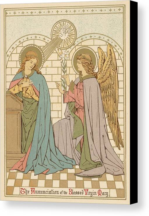 Saint Canvas Print featuring the painting The Annunciation Of The Blessed Virgin Mary by English School