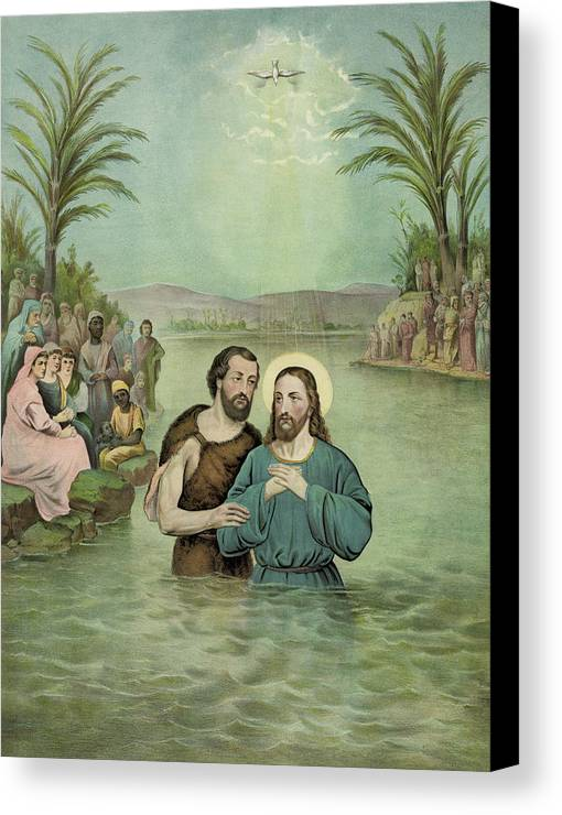 Aged Canvas Print featuring the painting The Baptism Of Jesus Christ Circa 1893 by Aged Pixel