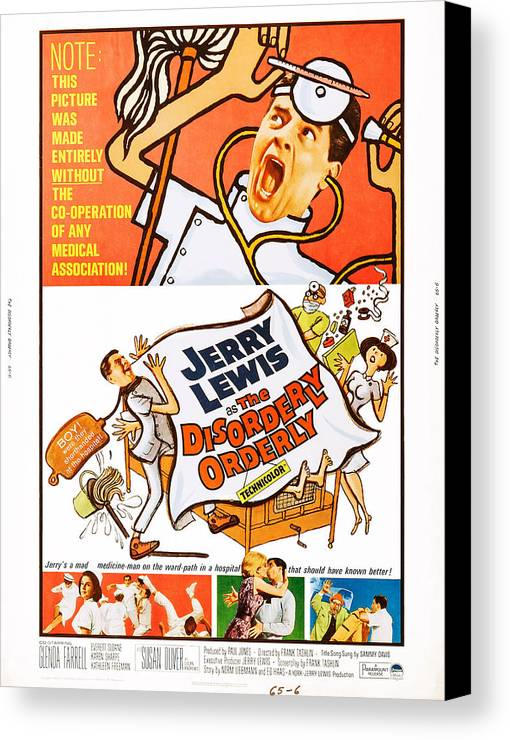 1964 Movies Canvas Print featuring the photograph The Disorderly Orderly, Us Poster by Everett