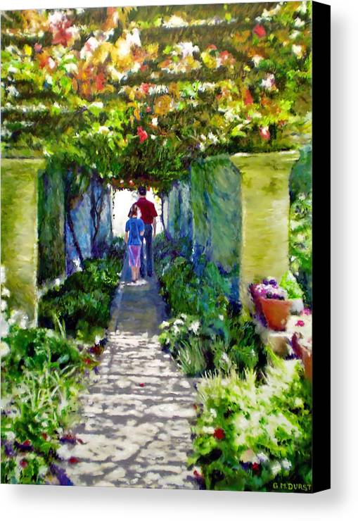Vineyard Canvas Print featuring the painting The Grape Trellis by Michael Durst