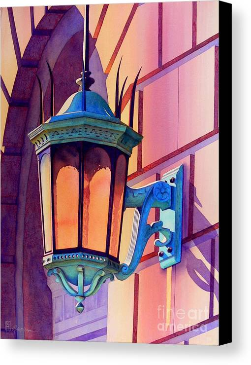 Watercolor Canvas Print featuring the painting The Lamp On Goodwin by Robert Hooper