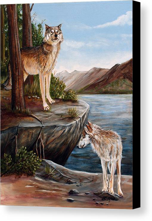 Wolves Canvas Print featuring the painting Two Wolves by Dorothy Riley