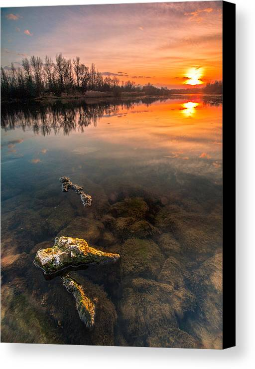 Landscape Canvas Print featuring the photograph Watching Sunset by Davorin Mance