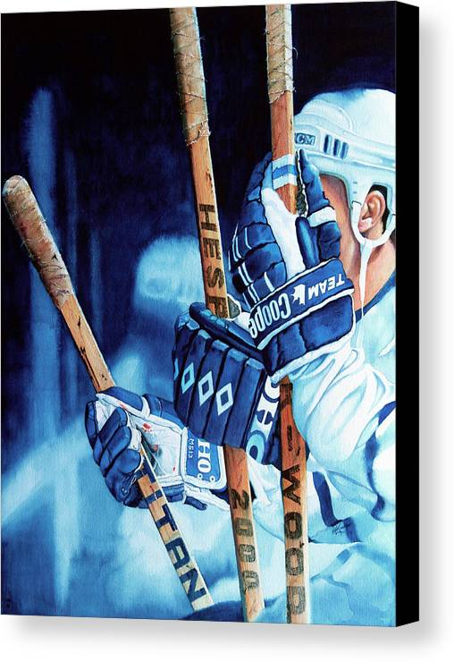 Sports Art Canvas Print featuring the painting Weapons Of Choice by Hanne Lore Koehler
