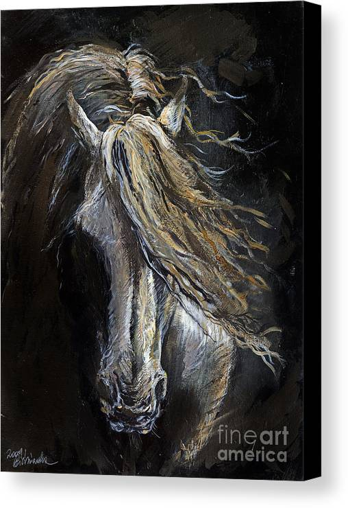 Horse Canvas Print featuring the painting White Ghost by Angel Ciesniarska