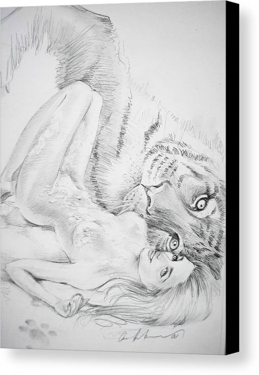 Canvas Print featuring the drawing With Love From Russia by Oksana Franklin
