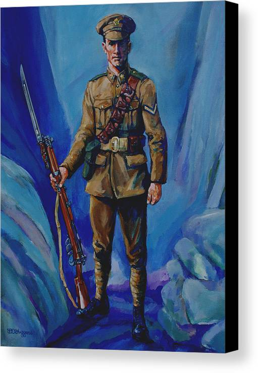 Soldier Canvas Print featuring the painting Ww 1 Soldier by Derrick Higgins