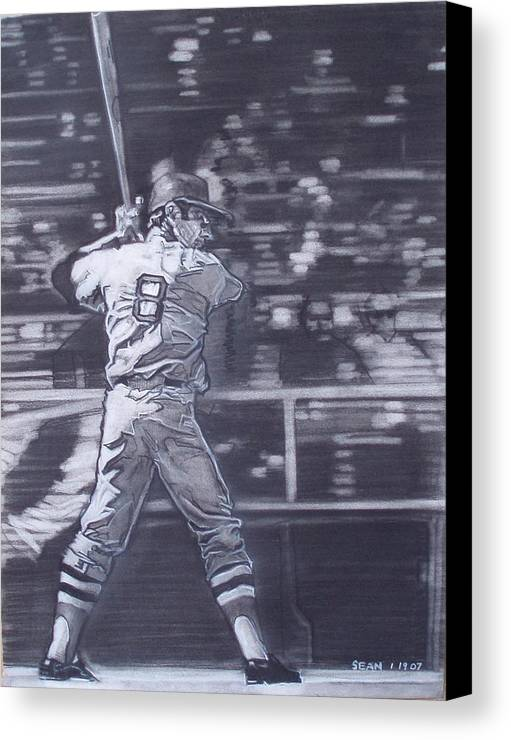 Charcoal Canvas Print featuring the drawing Yaz - Carl Yastrzemski by Sean Connolly
