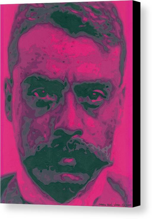 Emiliano Zapata Canvas Print featuring the painting Zapata Intenso by Roberto Valdes Sanchez