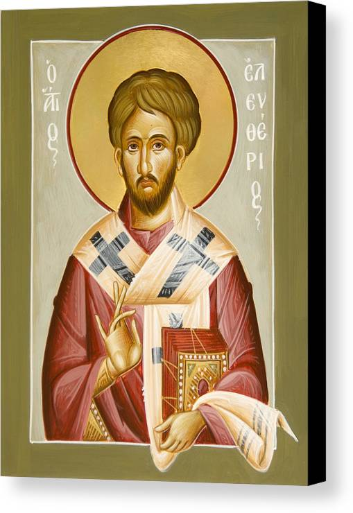 St Eleftherios Canvas Print featuring the painting St Eleftherios by Julia Bridget Hayes
