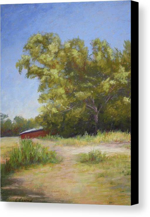 Tree Canvas Print featuring the pastel Tennessee Barn by Carol Conrad