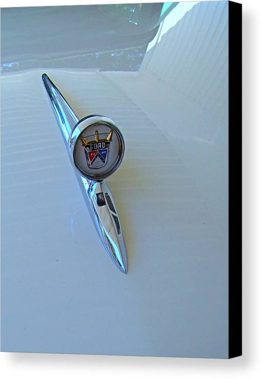 Fairlane Canvas Print featuring the photograph 57 Fairlane 500 Emblem by Nick Kloepping