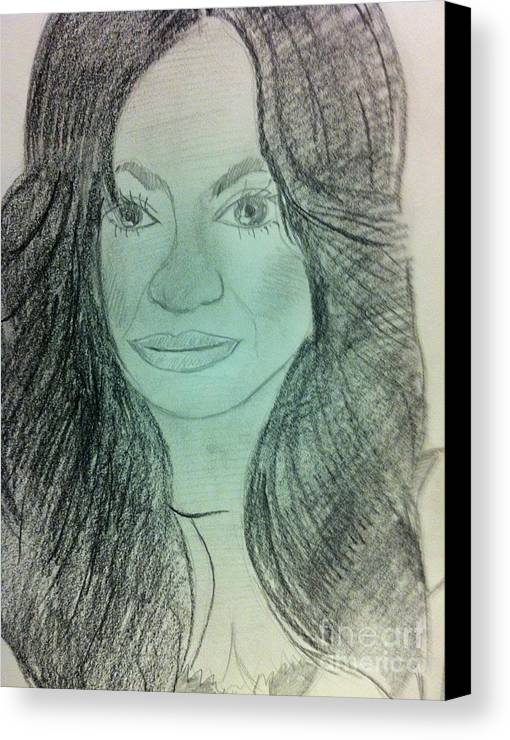 Singer/celebrity Canvas Print featuring the drawing Beyonce by Charita Padilla