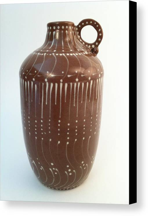 Art Canvas Print featuring the ceramic art Bottle Of Deep Red Clay With White Slip Decoration And A Handle by Carolyn Coffey Wallace