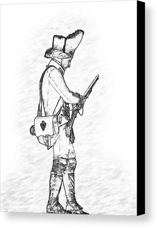 British Soldier Canvas Print featuring the digital art British Soldier With Rifle Sketch by Randy Steele