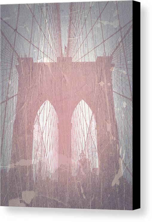 Brooklyn Bridge Canvas Print featuring the photograph Brooklyn Bridge Red by Naxart Studio