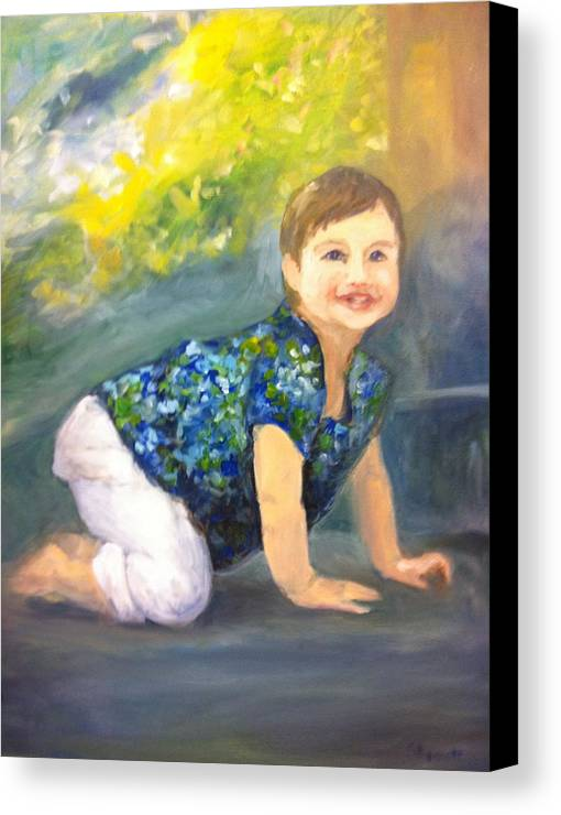 Child Canvas Print featuring the painting Christmas Present by Sophia B