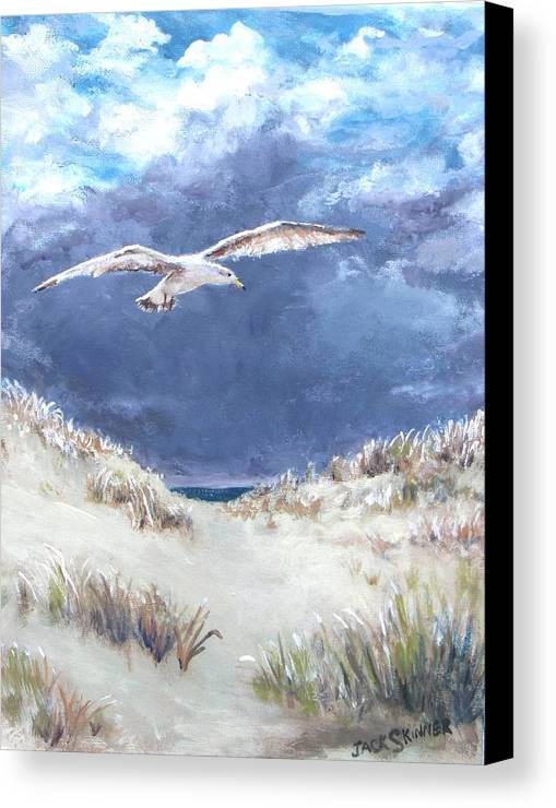 Seagull Canvas Print featuring the painting Cloudy With A Chance Of Seagulls by Jack Skinner
