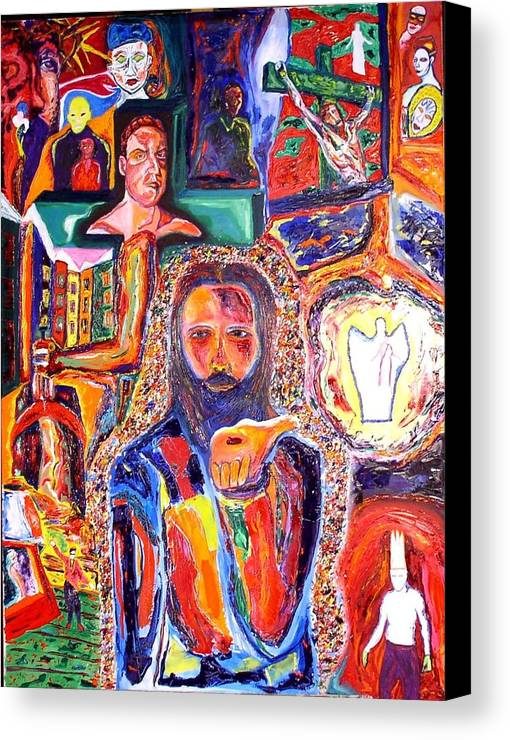 Expressive Portrait Canvas Print featuring the painting Co-crucified With Christ by Kennedy Paizs