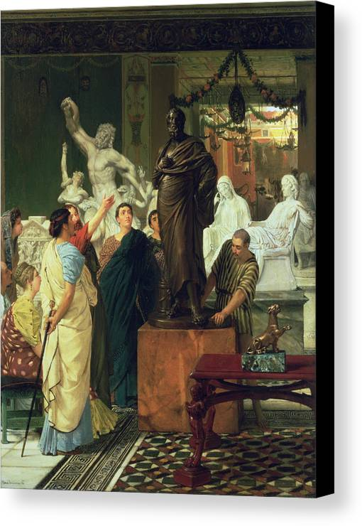 Dealer Canvas Print featuring the painting Dealer In Statues by Sir Lawrence Alma-Tadema