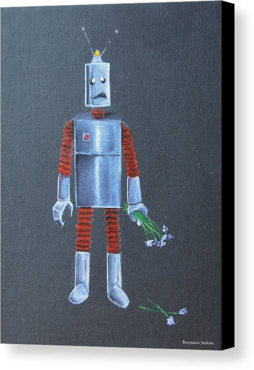 Robot Canvas Print featuring the painting Evolved by Ben Jackson