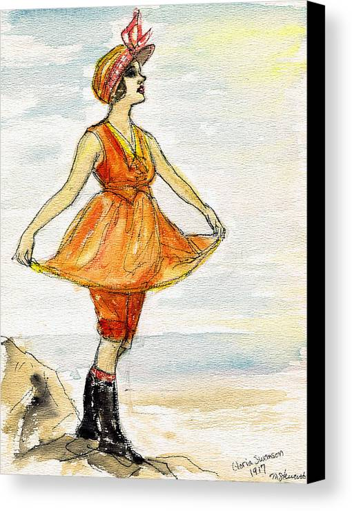 Nostalgia Canvas Print featuring the drawing Gloria Swanson by Mel Thompson