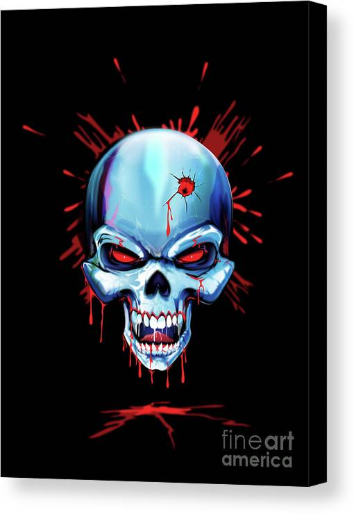 Skull Canvas Print featuring the digital art Head Shot by Brian Gibbs