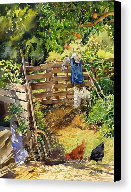 Landscape Canvas Print featuring the painting La Huerta by Margaret Merry