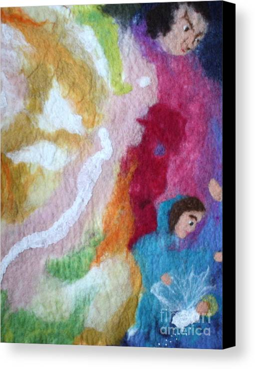 Needle Canvas Print featuring the tapestry - textile Lucifer And Ahriman At The Birth Of Christ by Nicole Besack