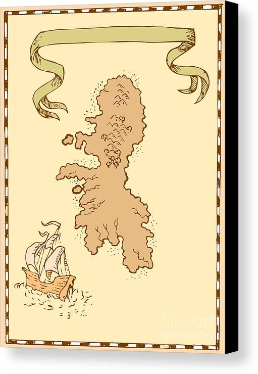 Illustration Of A Treasure Map Showing Island With Sailing Ship Galleon And Ribbon Done In Vintage Style. Canvas Print featuring the digital art Map Treasure Island Tall Ship by Aloysius Patrimonio