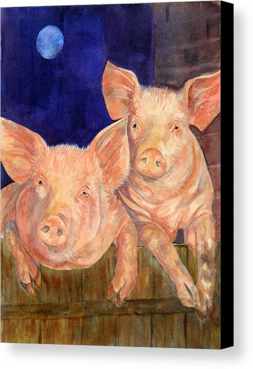 Paintings Canvas Print featuring the painting Moonlighting by Paula Robertson