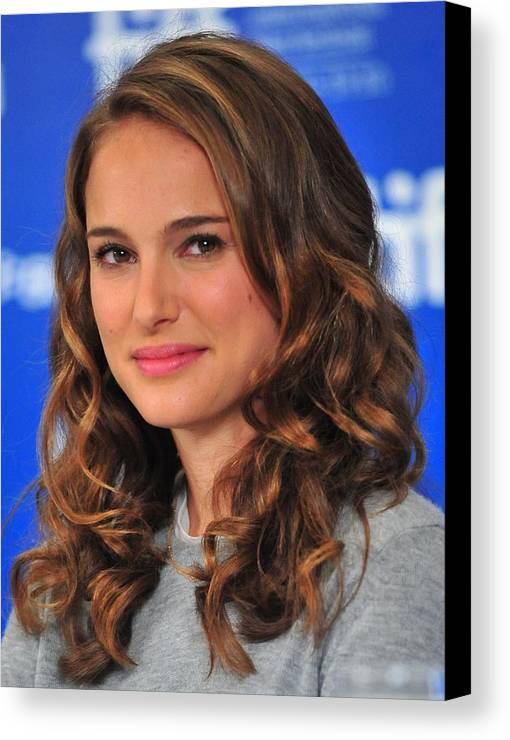 Natalie Portman Canvas Print featuring the photograph Natalie Portman At The Press Conference by Everett