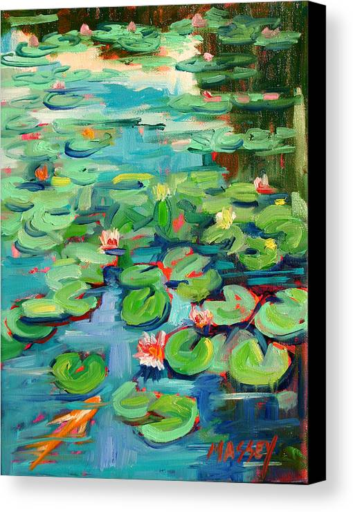 Water Lily Canvas Print featuring the painting Niloofar by Marie Massey