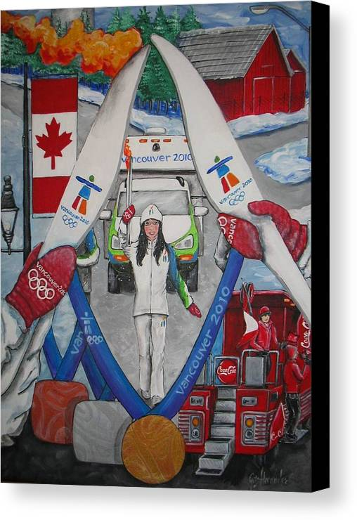 Canvas Print featuring the painting Olympic Torch Runner Laura Welsh by Jill Alexander